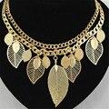 Gargantillas Collar de Aleación de Zinc de metal Hojas Collar Gargantilla Cadena de Oro Mujeres Del Estilo Joyería de Moda Bijoux Colier de Big Chunky Collares
