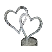 Wspaniały srebrny kryształ spleciony w kształcie serca topper tort weselny 6 ''ozdoba na wierzch tortu rhinestone topper kryształowa ozdoba na wierzch tortu serca|Dekoracyjne litery i cyfry|Dom i ogród -