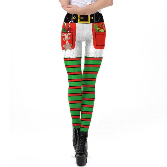 cf06093eb2 2018 Christmas Red Green Striped Print Slim Fitness Leggings Women  LegginsHigh Waist Push Up Legging Autumn