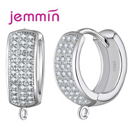 Jemmin Gorgeous Full White Rhinestone Hoop Earrings Round Cut Fine 925 Sterling Silver Jewelry Components for Women Gift