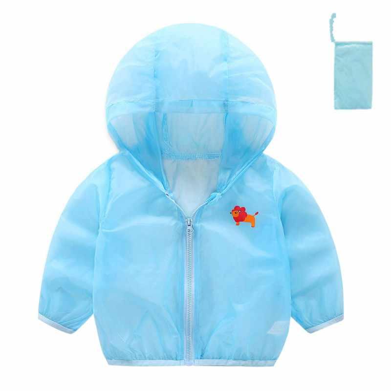 Chaqueta para niños 2018 verano niños transpirable con capucha Chaqueta ligera cortavientos ropa de abrigo para niñas bebés niños protección solar