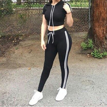 Newest Yoga Set Gym Sports Women T-Shirt Pants Jogging Sport Suits Fitness Running Workout Clothing Set 2018 Hooded Tracksuit(China)