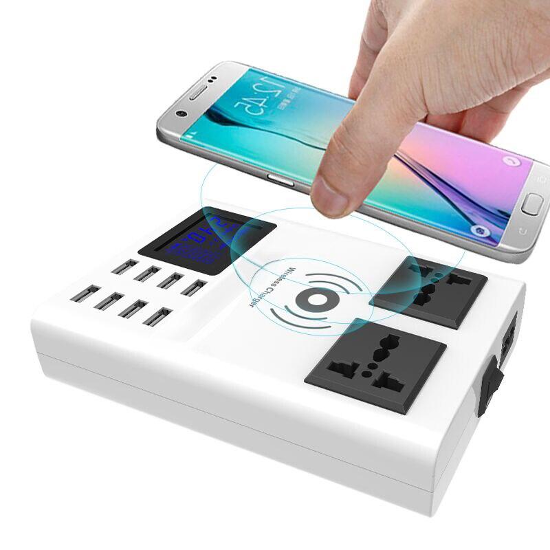 Qi chargeur sans fil chargeur 8 Ports USB chargeur intelligent Led affichage EU US UK prise de courant bande adaptateur support de support