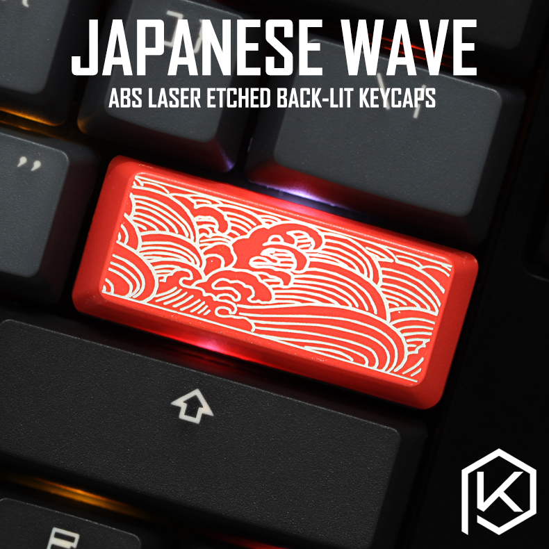 Novelty Shine Through Keycaps ABS Etched, Shine-Through Japanese Wave Black Red For Custom Mechanical Keyboard Enter  2.25u