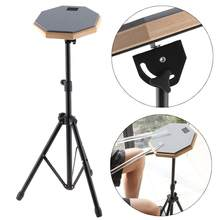 8 Inch Gray Rubber Wooden Dumb Drum Practice Training Drum Pad with Stand for Percussion Instruments Parts(China)