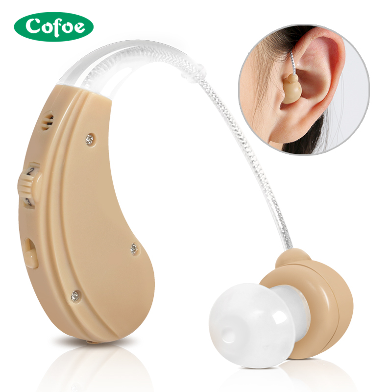 Cofoe USB Rechargeable BTE Hearing Aid Adjustable Digital Hearing Amplifier Behind Ear Type Hearing-Aid With 2 Color e33 rechargeable digital hearing aid 2 channels