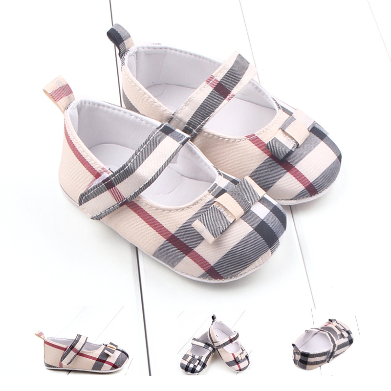 Baby Shoes Girl New Lattice Pattern Infant Crib Shoes Classical Soft Anti-Slip Toddler Shoes For Newborn Baby First Walkers 2019