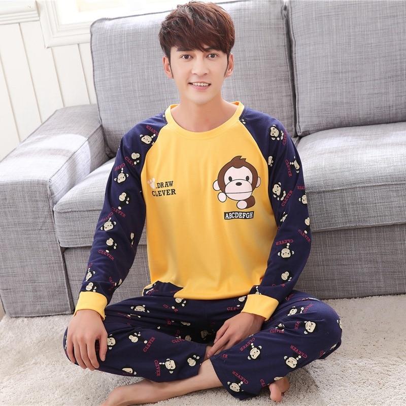 Spring Autumn Cotton Long Men's Pajamas Letter Cartoon Sleepwear Mens Pajama Sets Casual Men Pyjamas Plus Size 4XL Home Clothing