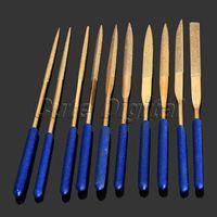 10pc Titanium Diamond Coated Needle File Set Filing Cutting Glass Ceramic Rock Carbide Jewelry Repair Carving