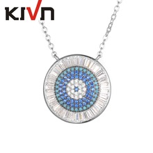 KIVN Fashion Jewelry Blue eye Pave CZ Cubic Zirconia Pendant Necklaces for Women Mothers Day Birthday Christmas Gifts