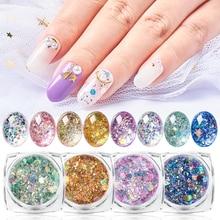 1g Holographic Nail Glitter Sequin Shiny Flakes 3D Paillette Sparkly Powder Polish Manicure DIY Nails Art Decor