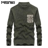 גברים אופנה כניסות חדשות MISNIKI סגנון צבאי ללבוש חורף סוודר סרוג סוודרים מזדמנים M-3XL MMY04