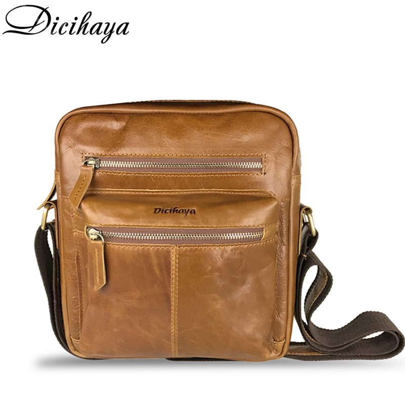 DICIHAYA Fashion Genuine Leather Crossbody Bags Men Casual Messenger Bag Small Brand Designer Male Shoulder Bag Zipper bags карандаш для удаления царапин carplan t cut scratch magic 10ml rsm 040 page 4