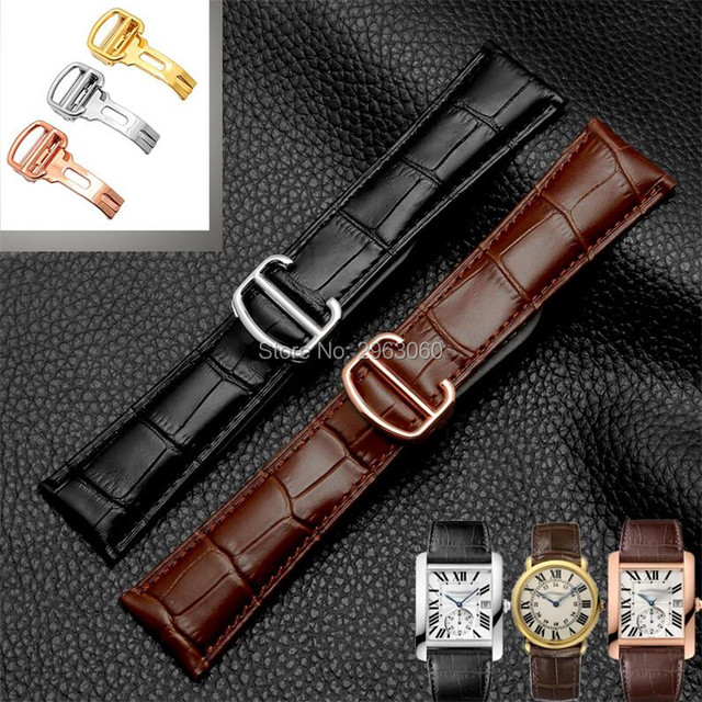 Durable Black Brown Genuine Leather Watchband 18 20 22 23 24mm Calfskin Strap wi
