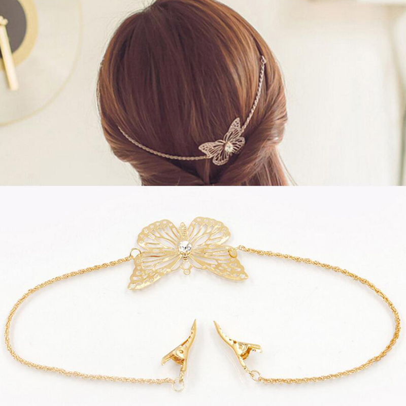 Bohemian Hair Jewelry Vintage Gold Color Metal Butterfly Headband Tassel Hair Band Head  ...