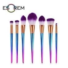 ESOREM 7pcs Gorgeous Tapered Handle Makeup Brushes White Purple Hair Loose Powder Foundation Brush Pinceaux Maquillage 070801