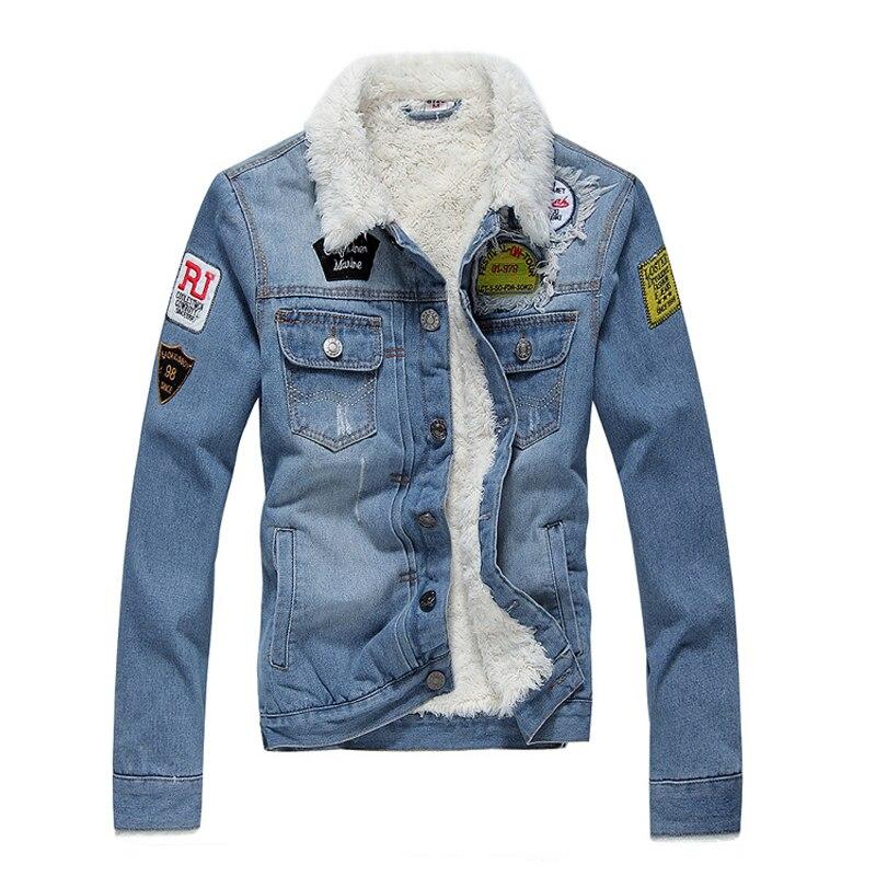 2019 Fashion Winter Jacket For Men Blue Color Fleece Cotton Warm Hip Hop Denim Velvet Thick Coats Homme Bomber