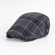 Forward Hat Ladies Cotton Plaid Beret Men s Autumn and Winter Leisure Bud  Cap Middle-aged Duck Hat Wholesale LU0265 59792f6f71b1