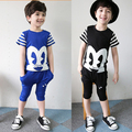 2016 Summer Boys Clothes Suit Children  Big Eyes Clothing Sets Toddler Boys Striped Top T-shirts + Kids Pants Baby Sports Suit