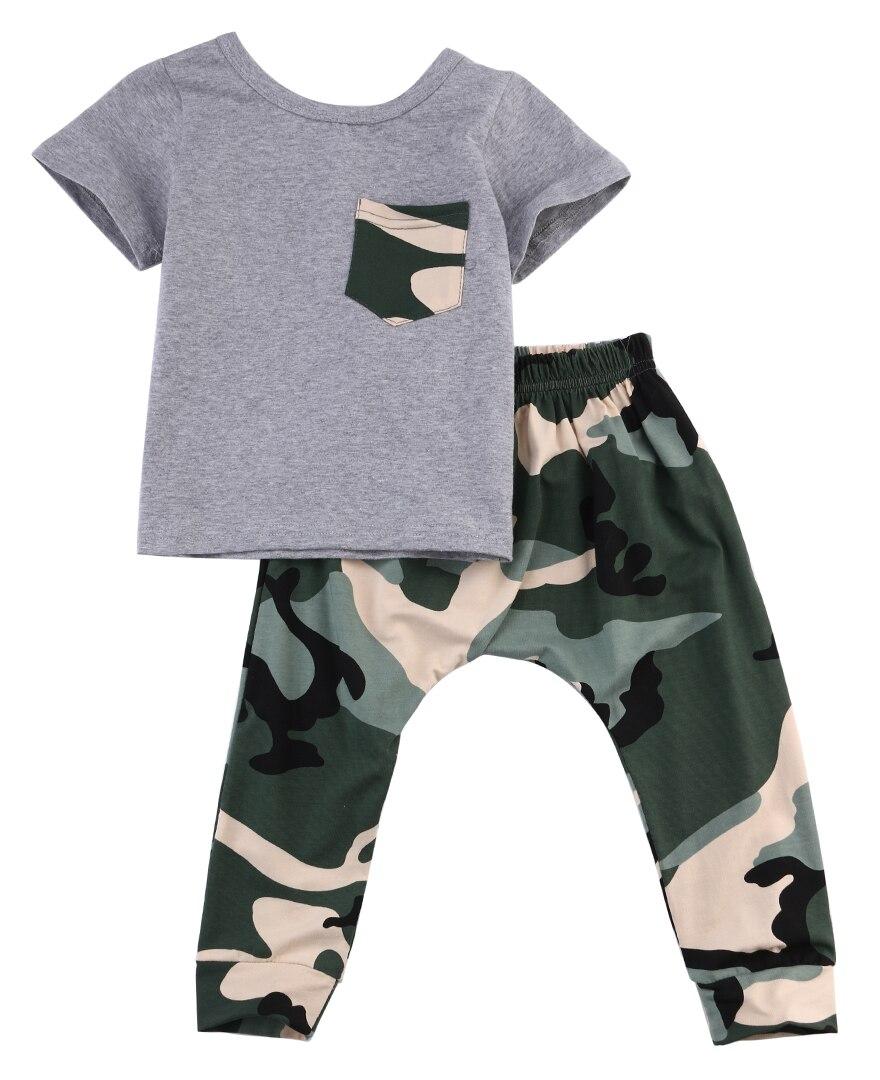 2Pcs Camouflage Clothing Set For Boys-7180