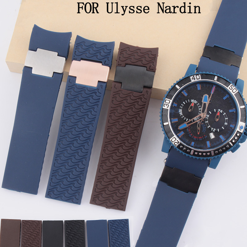 Waterproof rubber strap 22MMblack blue brown watch belt for Ulysse Nardin DIVER men's mechanical watch accessories without clasp мужские часы ulysse nardin оригинал