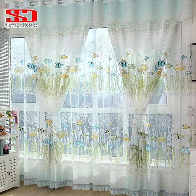 Cotton Fish Curtains For Kids Room Bedroom Cartoon Blinds Green Korean  Animal Tulle Window Panels Voile