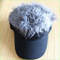 Novelty Fake Flair Hair Sports Visor Cap Man Funny Toupee Wig Outdoor Beach Hats