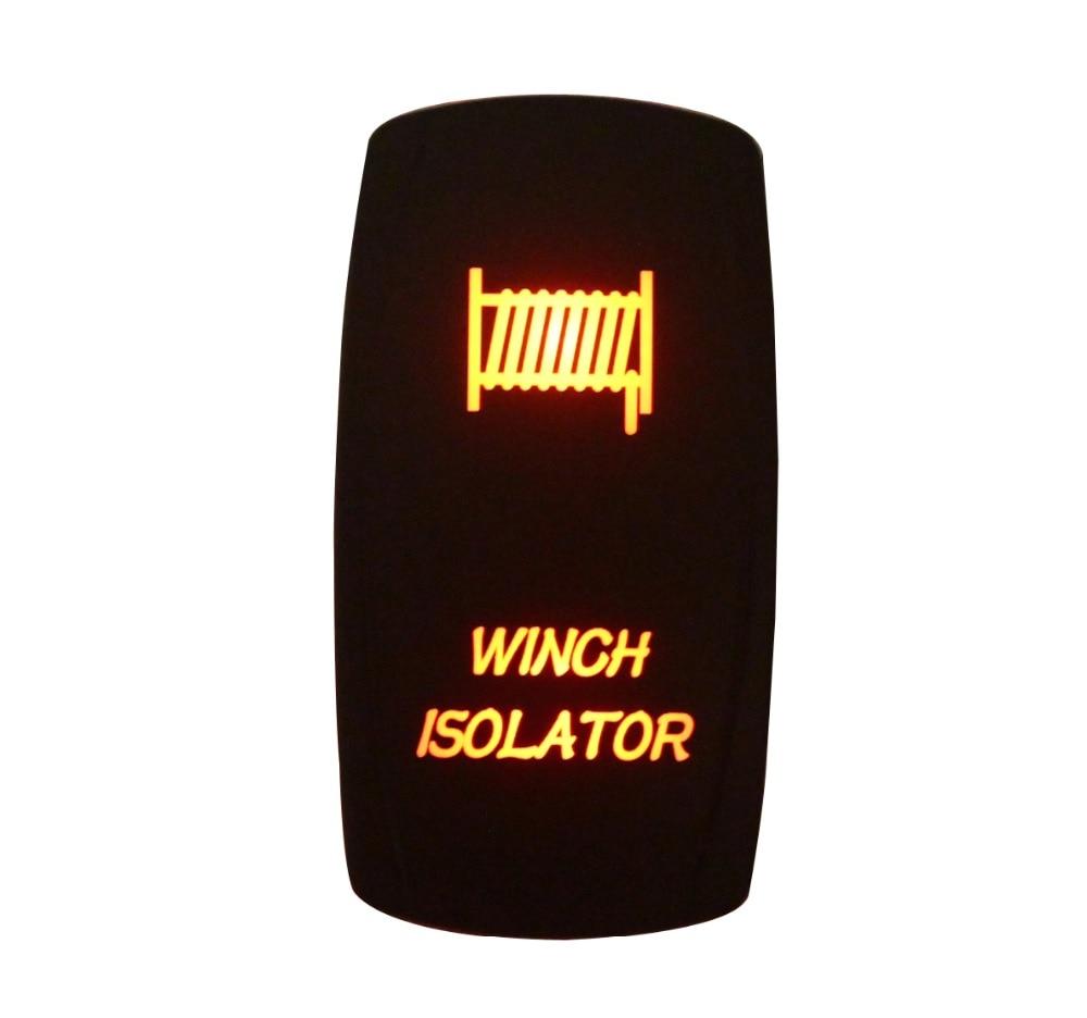 DC12V 24V WINCH ISOLATOR Rocker Switch AMBER Led lamp 5 Pin ON/OFF SPST Marine Grade Waterproof