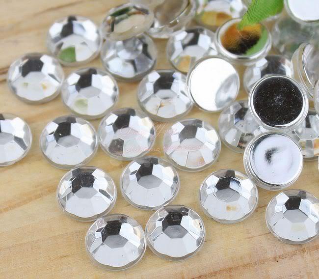 Doprava zdarma! 2mm ~ 25mm, 100 ~ 20000pcs / lot Křišťálově čistá barva Ploché zadní akrylové Nail Art korálky Dekorace.