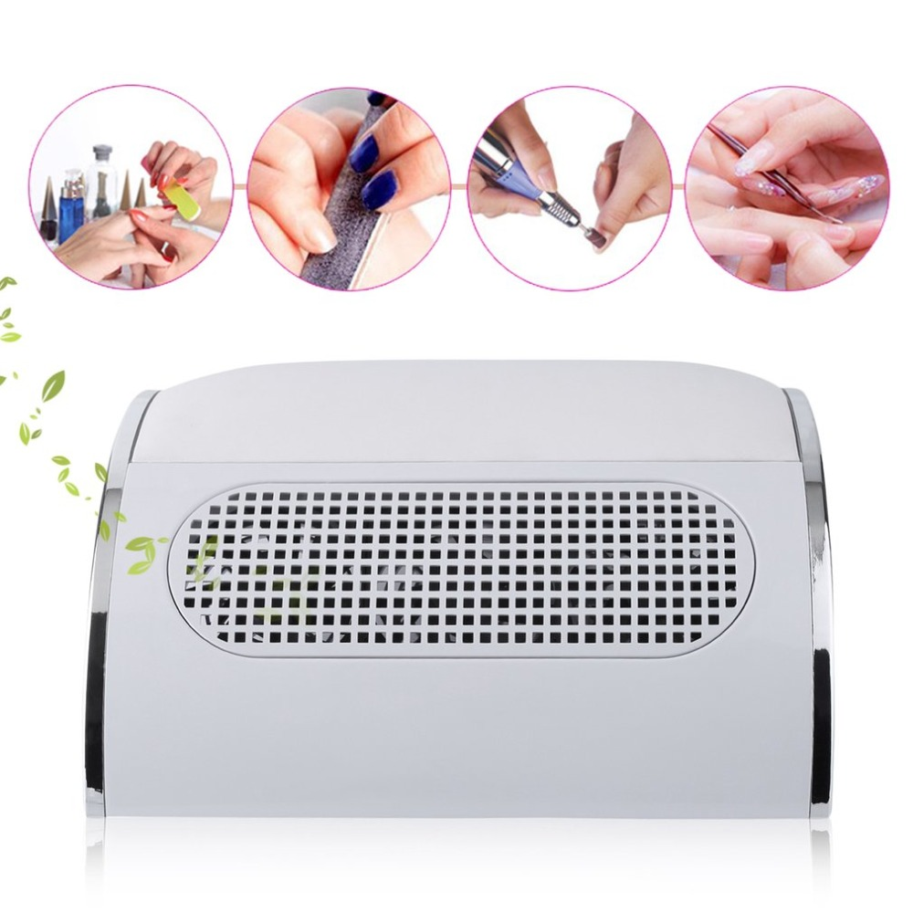 Nail Dust Suction Collector 3 Powerful Fan Vacuum Cleaner Manicure Tool +2 Dust Collecting Bags White EU Plug soft leather nail art fan salon suction dust collector manicure filing acrylic uv gel tip machine vacuum cleaner salon tool