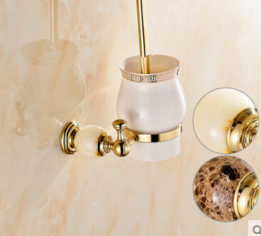Brass & Jade Toilet Brush Holder with ceramic cup,Gold Plated Toilet brush Bathroom Products New Arrivals Cleaning Brush Holder