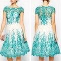 2016 высокое качество Летние Женщины Ручной Работы Вышивка Кружева Тонкий Платье Синий Цвет Моды Бытовые Свободной Женщины Платье