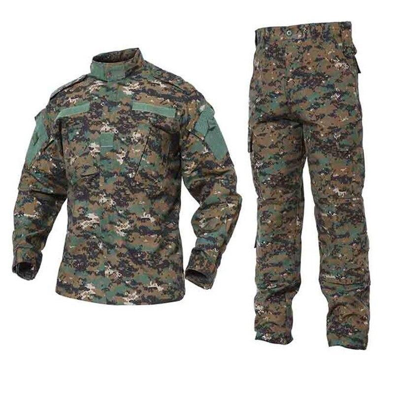 Военный Тактические форменная рубашка + брюки камуфляж боевой форма армии США Мужская одежда костюм Airsoft Hunt