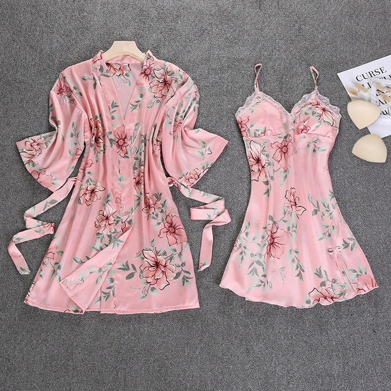 Women Lace Silk Satin Flower Print Bathrobe Nightgown robe Sets full Sleeve Lingerie Pajamas Sleepwear lounge female Nightwear