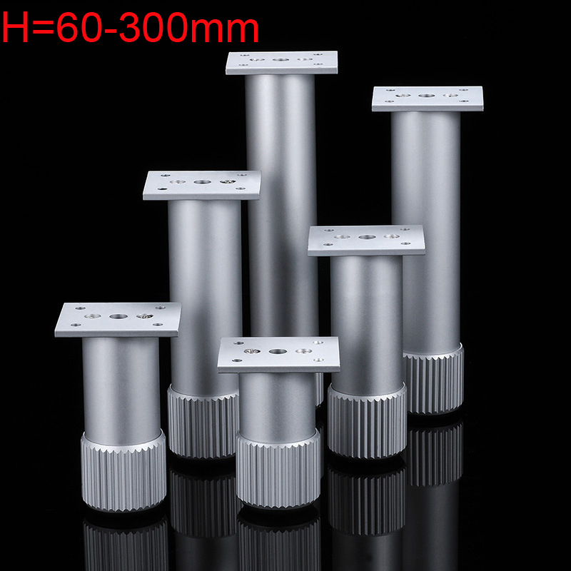 4pcs Aluminum Alloy Sofa Tv Cabinet Support Foot Cylindrical Coffee Table Fixed Feet Silver Adjustable Height 10mm
