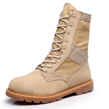 2016 New Military Boots Full Grain Leather outdoor Desert Tan combat army boots male shoes Mens Tactical boot