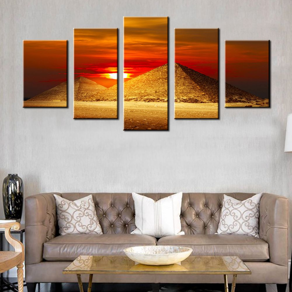 Sunrise Egyptian Pyramids in the Red Dusk Landscape Photo Print ...