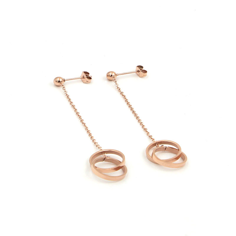 new fashion jewelry stainless steel rose gold color earrings Korean version jewelry for Holiday gifts LE07new fashion jewelry stainless steel rose gold color earrings Korean version jewelry for Holiday gifts LE07