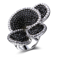 Latest Design Flower Shape Cubic Zirconia Stone Engagement Rings Black White Allergy Free Cutie Big Rings