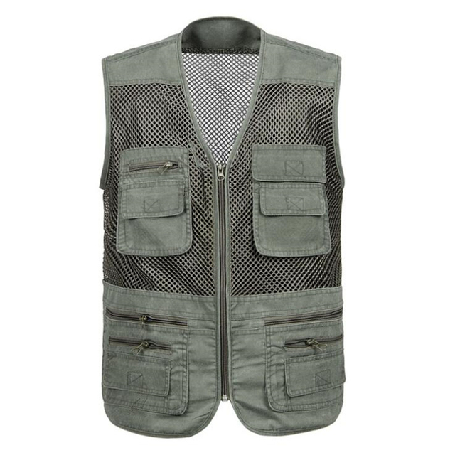 Summer leisure Male Mesh Vests 3XL 4XL Vest Middle-aged Mens Outdoors Cotton Multi Pocket Sleevless Jacket Big size Men Outerwea