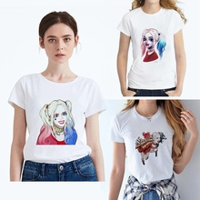 New Summer printing Suicide Squad Harley Quinn Cartoon Women O-Neck Modal Short Sleeve Leisure fashion T-Shirt  White T Top