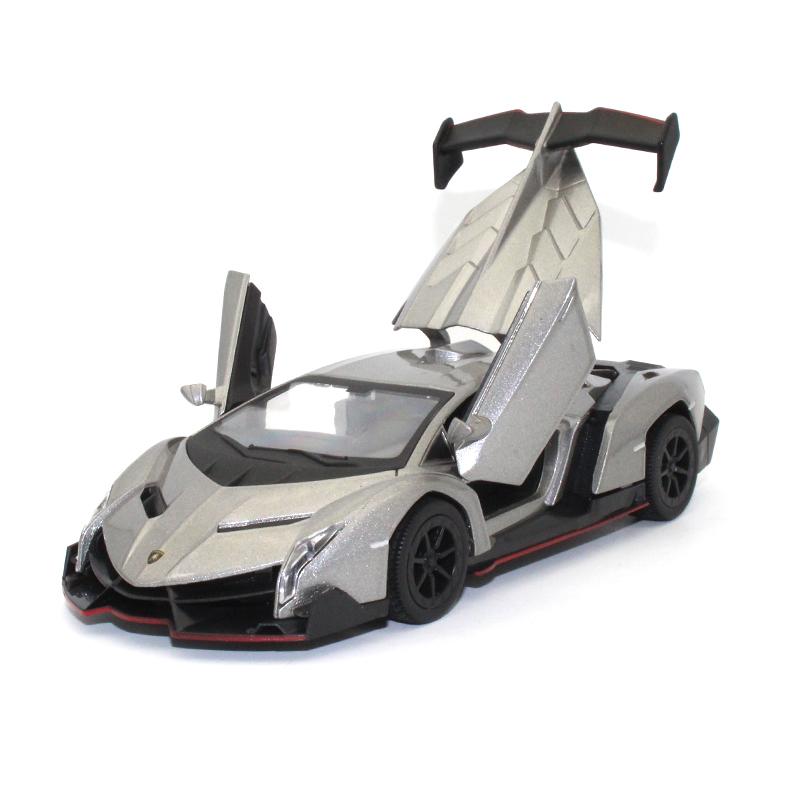 1:29 Lambo Veneno Car Model Kids Toys Collection Model Decoration Sound And Light Pull Metallic Material Toy Sports Car