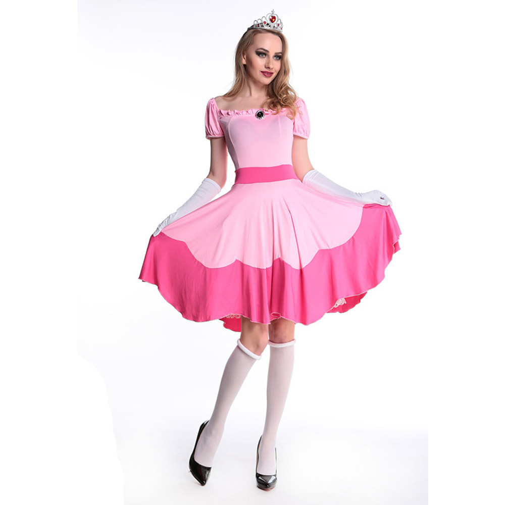 Newest Deluxe Adult Princess Peach Costume Women Super Mario ...