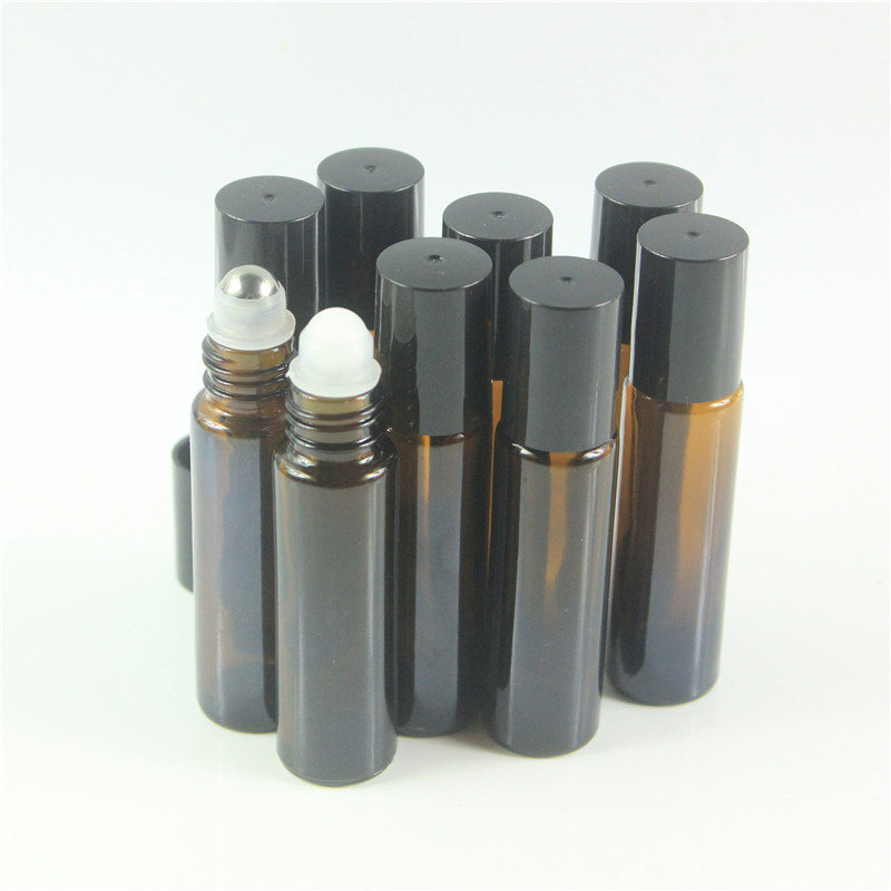 DHL Free 200pcs lot 10ml Amber Roll On Roller Bottle for Essential Oils Refillable Perfume Bottle