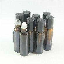 Botella enrollable ámbar para aceites esenciales, botella rellenable de Perfume, contenedor desodorante, 10ml, 200 unidades por lote, envío gratuito por DHL