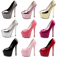 2019 Platform Pumps Women Shoes Sexy Extremely High Heels 15CM Female Shoes Bridal Stiletto Ladies Wedding Party Shoes Gold Pink