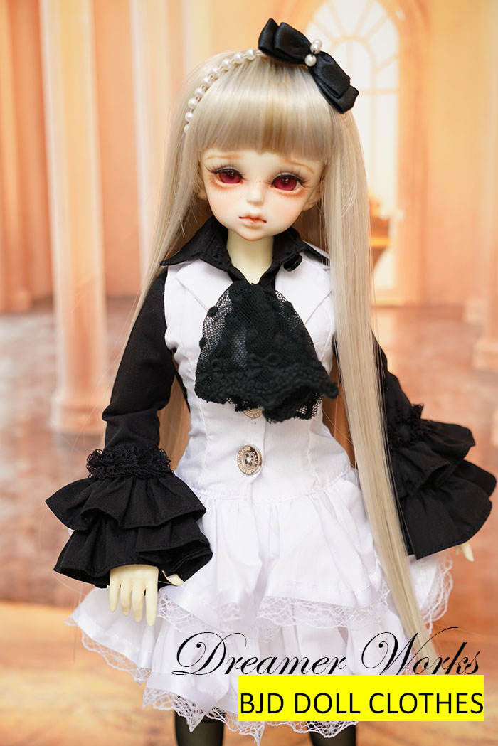 ФОТО BJD / SD doll clothes fashion British noble dress princess shirt White skirt suit for  1/4 1/3 Bjd Doll accessories