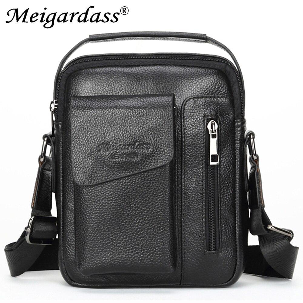 купить MEIGARDASS Genuine Leather Men's Messenger Bag Shoulder Bag male Crossbody Bags for men Totes Handbags iPad Tablet bags онлайн