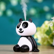 Mini Air Humidifier Portable Panda Shape Humidifier USB LED Lights Ultrasonic Aroma Humidifier Car Styling(China)