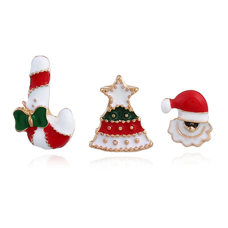 New Fashion Style Christmas Ornaments Socks Tauren Tree Snowman Fashion Drip Oil Gloves Snow Bells Brooches For Women Gifts